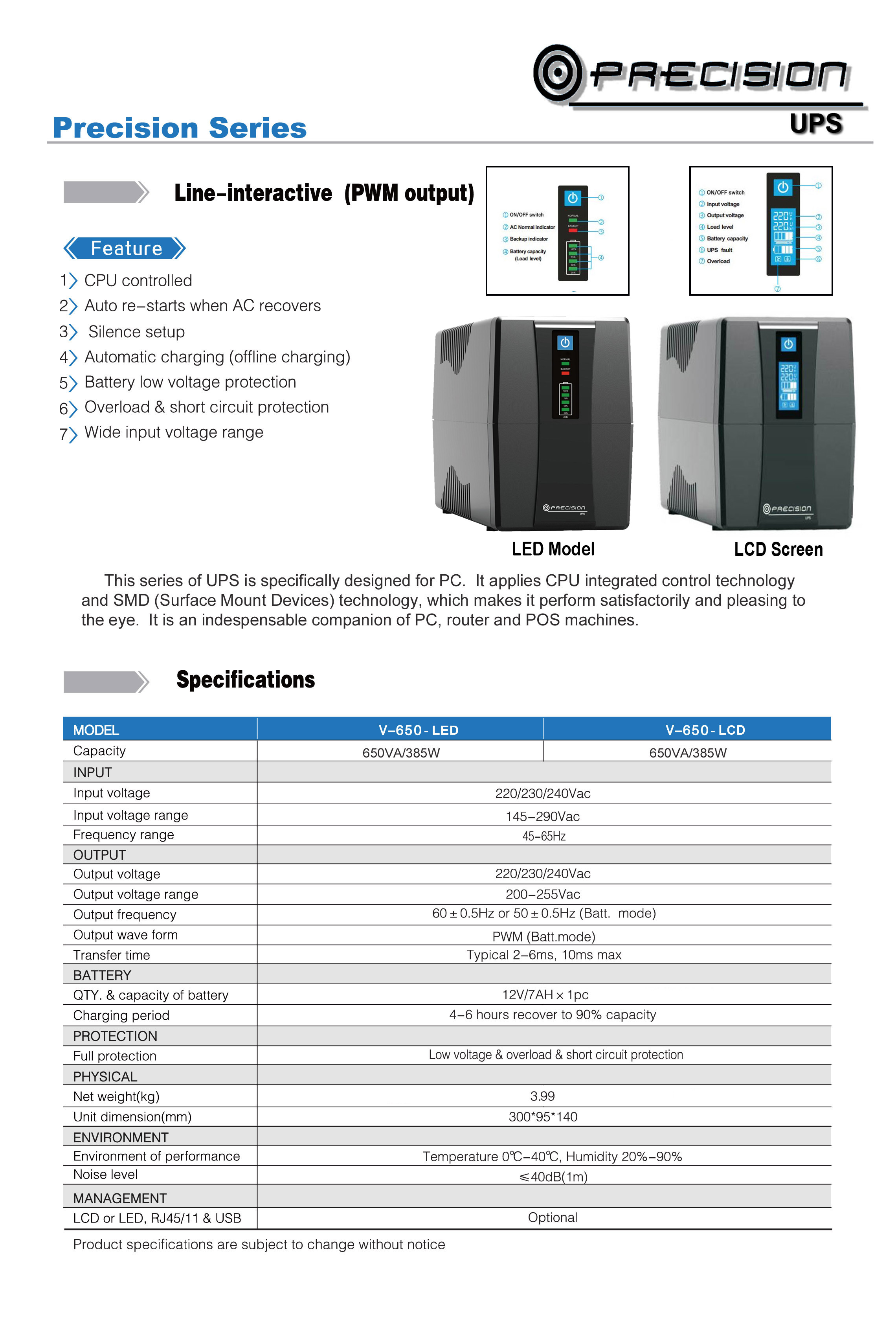 Precision 650va Ups And Battery Low Voltage Protection Short Circuit Protectionin Car Brochure Original Pdf